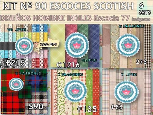 kit imprimible x 6 set 77 diseños escocés set mate hombre y+