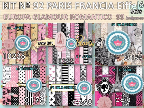kit imprimible x 6 set 99 diseños paris eiffel delicados
