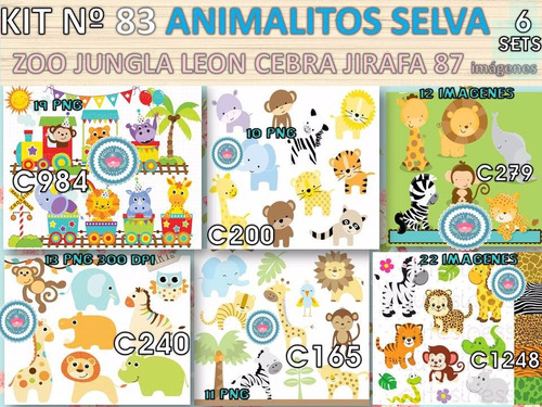 kit imprimible x 6 set animales jungla selva p/ iman sticker