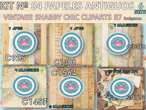 kit imprimible x 6 set papeles fondos ciencia florales retro