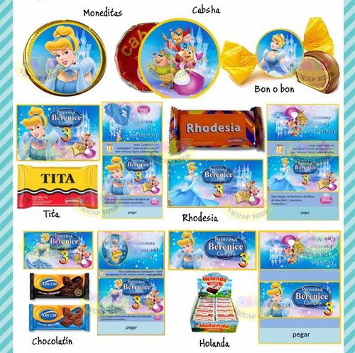 kit imprimible y candy bar princesa cenicienta editable