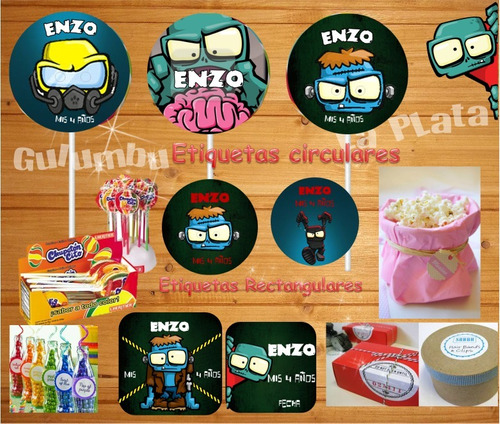 kit imprimible zombie infection candy bar personalizado
