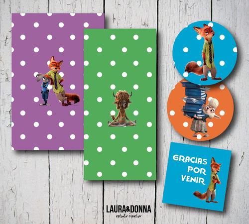 kit imprimible zootopia candy bar decoración nenes cumple