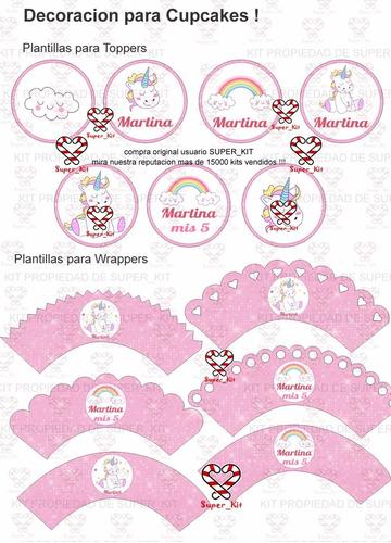 kit imprimibles unicornios 100% editable cotillón infantil