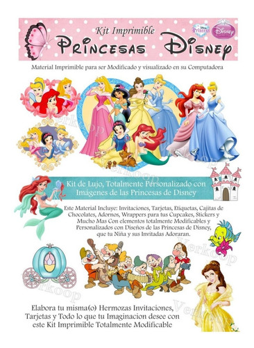 kit imprimilble princesas disney tarjetas invitaciones