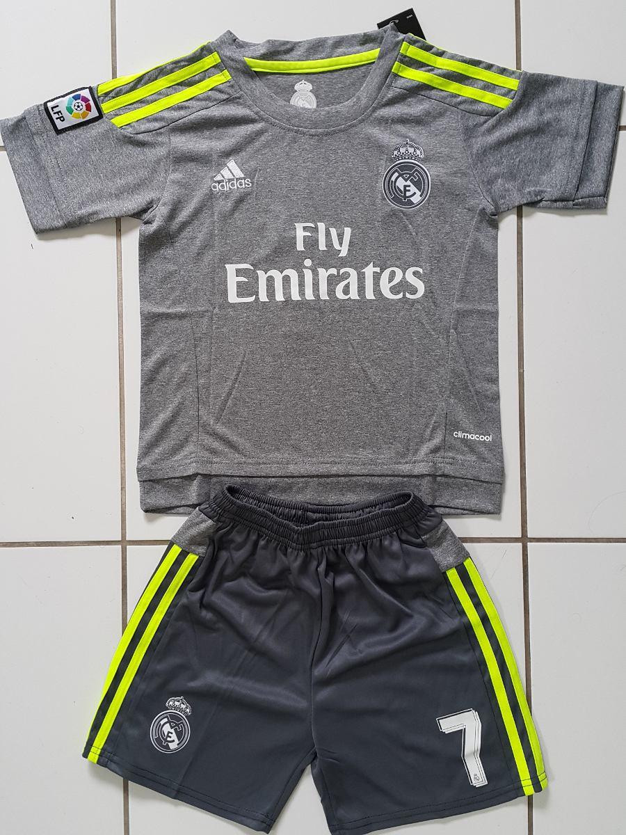 kit inf real madrid camisa shorts cinza 2016 pronta entrega. Carregando zoom . e28343dde53c6