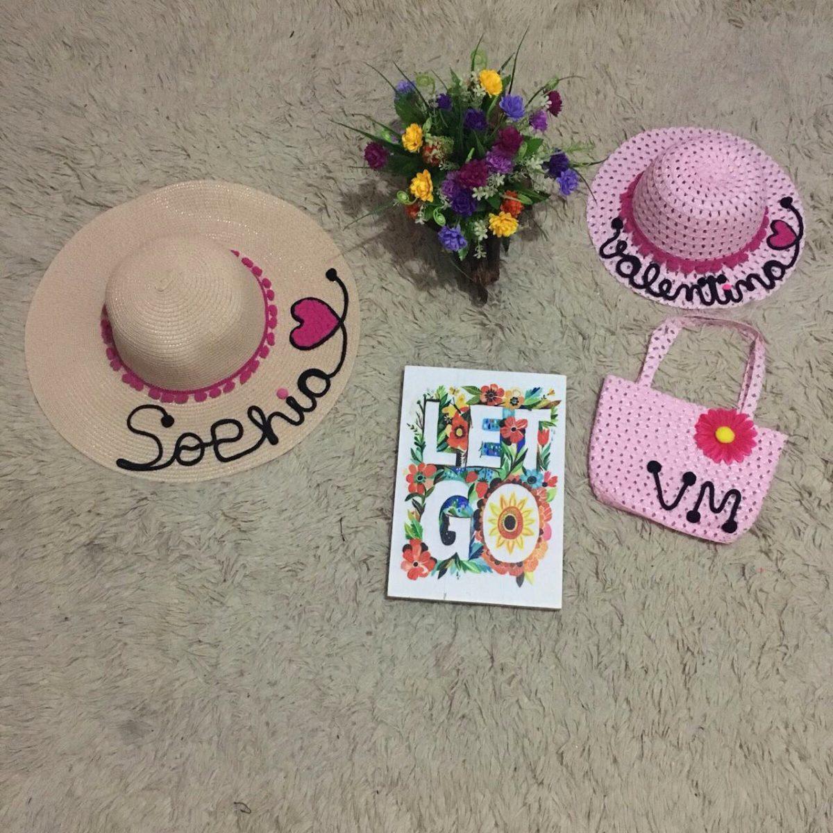 b3213c039a0a kit infantil bolsa de palha + chapéu de praia personalizado. Carregando  zoom.