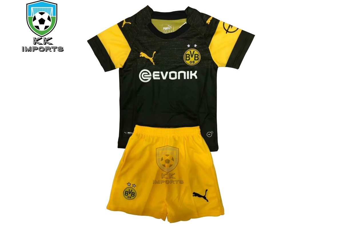 14258cbe4 kit infantil borussia dortmund 2018 2019 uniforme 2. Carregando zoom.