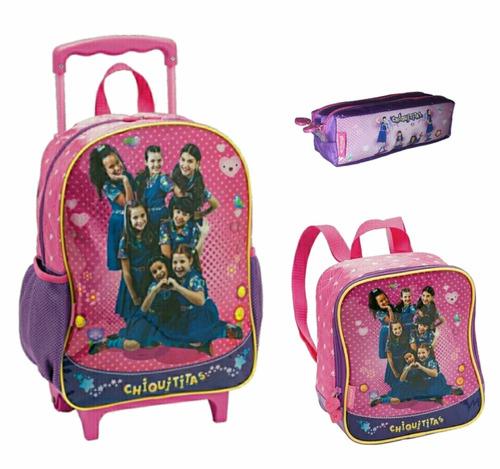 kit infantil escolar chiquititas mochila lancheira e estojo