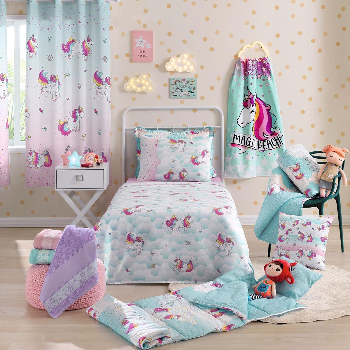 72c9528974 kit infantil menina unicórnio colcha + jogo d cama + cortina. Carregando  zoom.