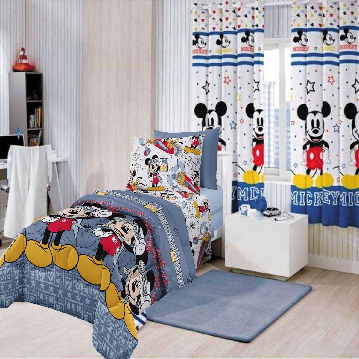0c17cebbd8 kit infantil mickey jogo de cama + edredom + cortina disney. Carregando  zoom.