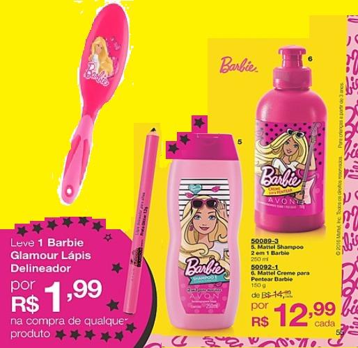 Kit Infantil Para Cabelos Barbie Avon Com 4 Produtos - R  38 22558cef7d200
