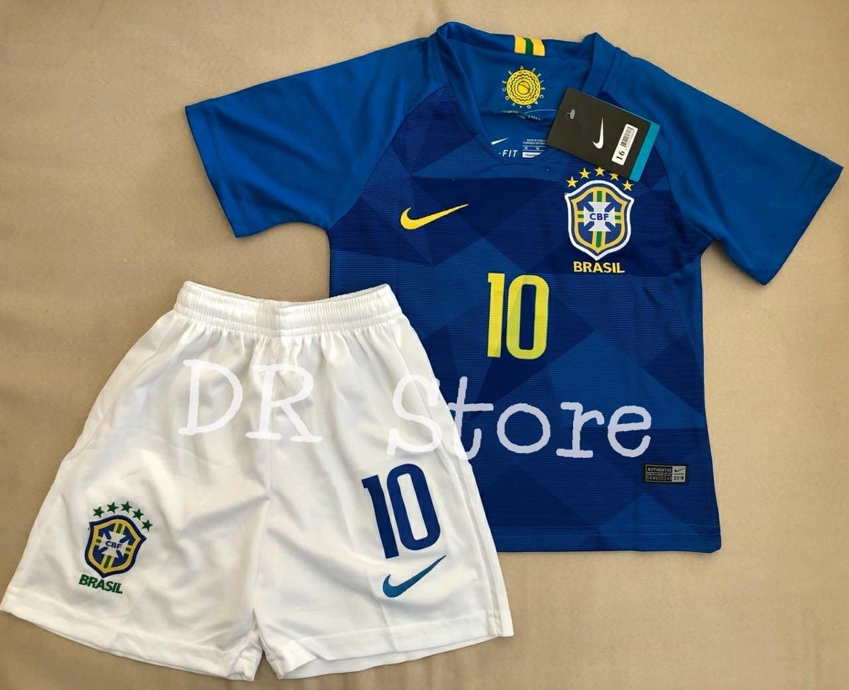 Kit Infantil Seleção Brasileira 2018 Neymar- Com Meião - R  179 406b163af0b30