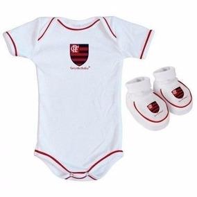 08f0e0e53603e3 Kit Infantil Torcida Baby Flamengo Body + Pantufa Branco