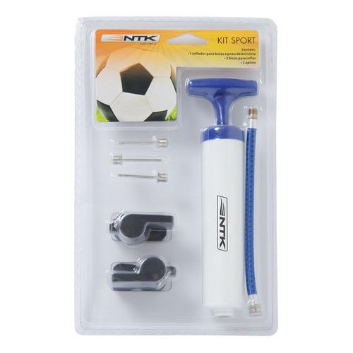 kit inflador para bola futebol + 2 apitos e 3 bicos nautika