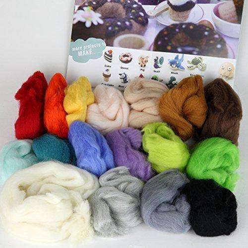 kit iniciación fieltro agujas lana 16 colores lana alfombril