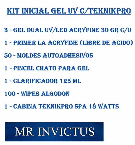 kit inicial cabina teknikpro spa + gel uv acryfine moldes