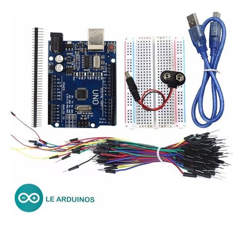 kit iniciante arduino uno com cabo protoboard jumpers cabo