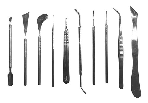 kit instrumental podología profesional acero 10 piezas