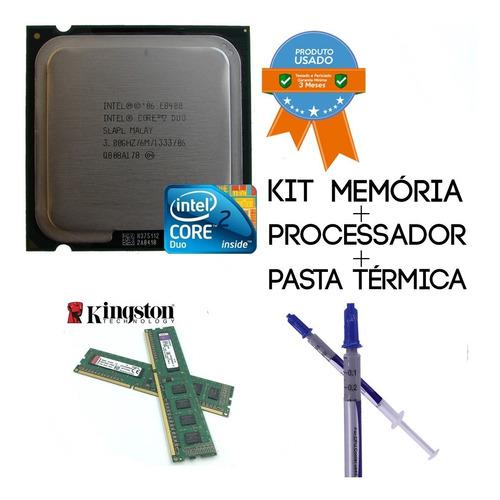 kit intel core 2 duo e8400 + 4gb memoria ddr2(2+2gb)
