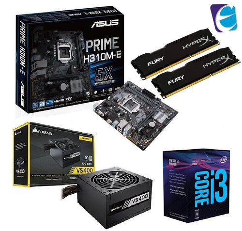 kit intel core i3 8100 asus h310m e 2x 8gb fury vs400 i