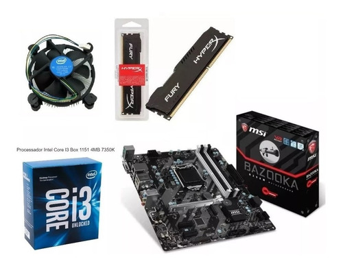 kit intel gamer i3 7350k 4,2 ghz msi b250m ddr4 fury 2400mhz