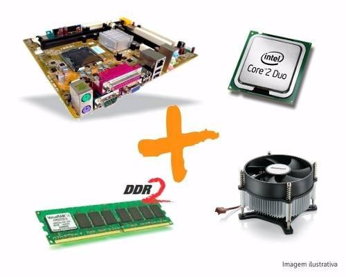 kit intel lga 775 core 2 duo + placa mãe + cooler + 2gb ddr2