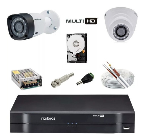 kit intelbras 4 cameras g4 1010b 720p dvr mhdx 1104 h265