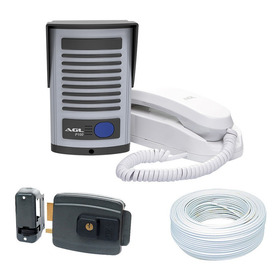 Kit Interfone Port. Elet. Agl + Fechadura Elétrica Agl+ Cabo