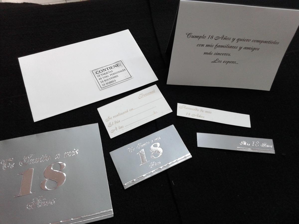Kit Invitacion Para 18 Años Color Gris Plata Sanca
