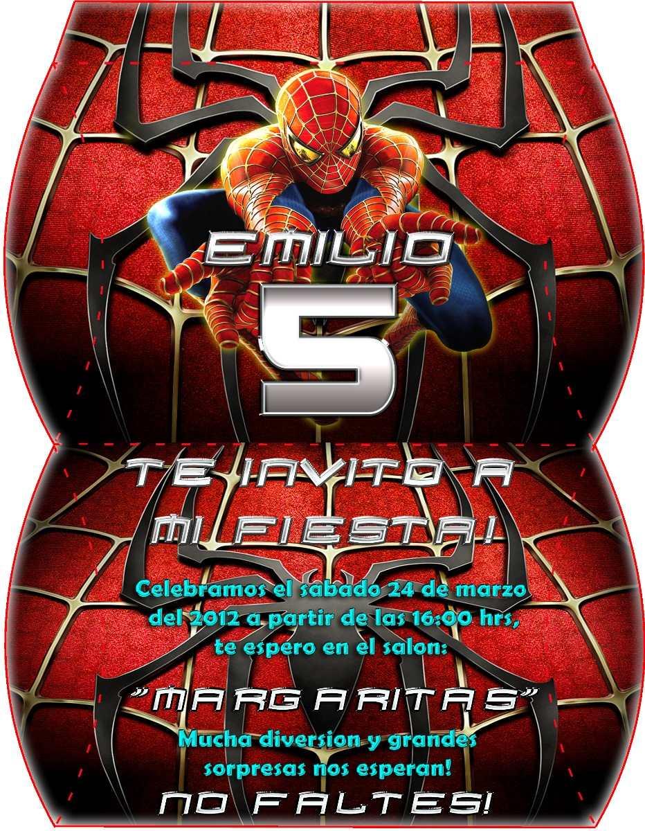 Kit Invitaciones Marcos Imprimibles Spiderman Hombre Araña - Bs ...