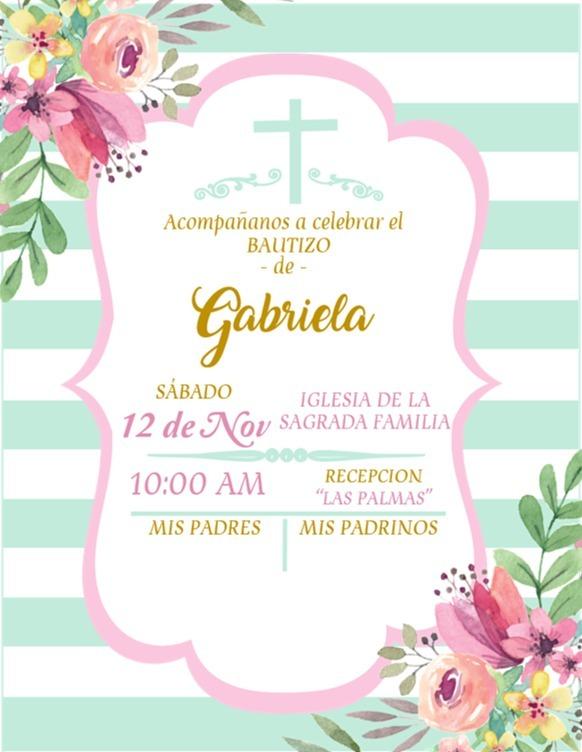 kit invitaciones personalizadas baby shower bautizo niña