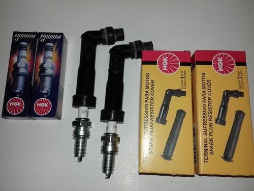kit iridium ngk vela e cachimbo (4 peças) cb 400 450 cbr sr