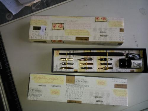 kit italiano de caligrafia, en su caja, con tintero plumas