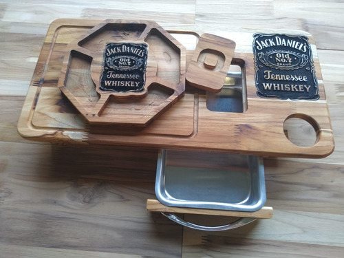 kit jack daniels churrasco tabua  inteligente + petisqueira