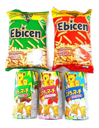 kit japonês 3 biscoitos koala's march + 2 salgadinhos ebicen