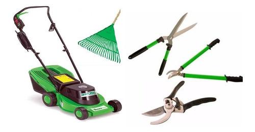 kit jardinagem cortadora de grama 220v + conjunto 3 tesouras
