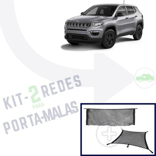 kit jeep compass combo com 2 redes porta objetos porta malas
