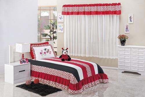 kit joaninha cobre leito solteiro meninas 04 peças vermelho