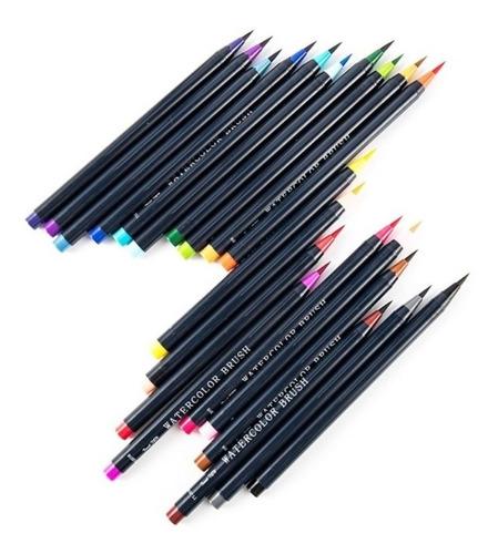 kit jogo 20 canetas watercolor brush pen aquarela pincel
