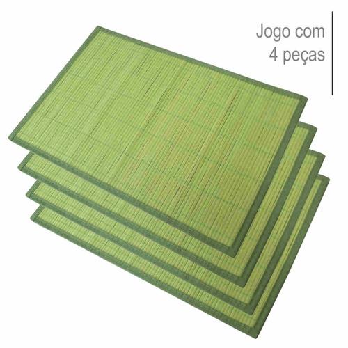 kit jogo americano 4 pcs em bambu natural verde - conthey