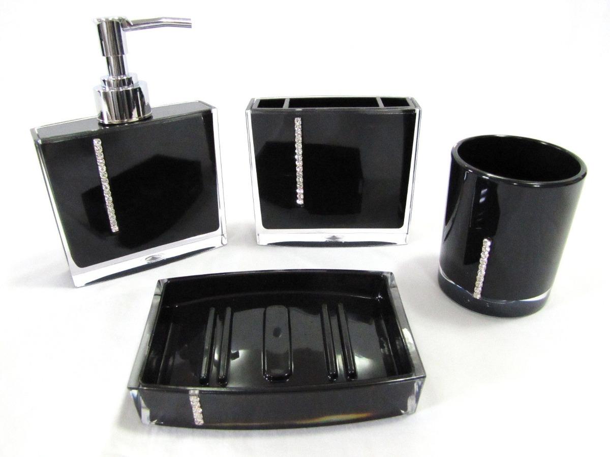 Kit Jogo Banheiro 4 Pçs Acrílico Strass Branco Ou Preto R$ 79 90  #62604D 1200x900 Banheiro Amarelo Com Preto