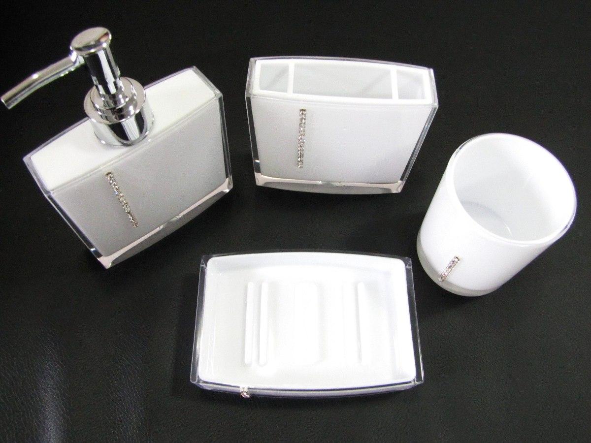 Kit Jogo Banheiro 4 Pçs Acrílico Strass Branco Ou Preto R$ 79 90  #5E5972 1200x900 Banheiro Amarelo Com Preto