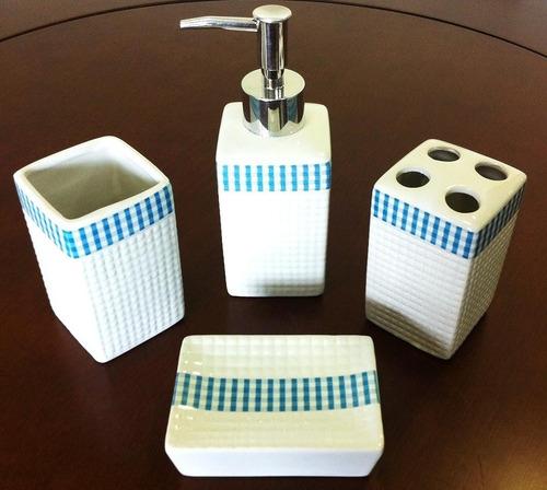 kit jogo banheiro 4 peças porcelana lindo detalhe azul