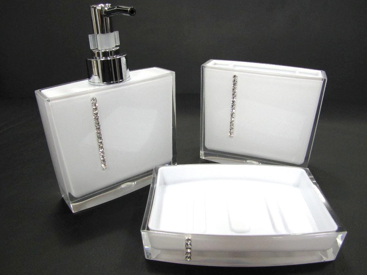 Kit Jogo Banheiro Acrílico Strass Branco Ou Preto R$ 75 90 em  #605B70 1200x900 Banheiro Branco Com Vaso Preto