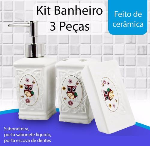 kit jogo banheiro porcelana 3 pçs escova saboneteira liquido