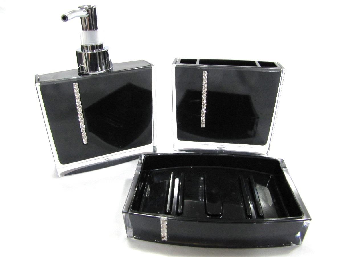 Kit Banheiro 3 Peças Lixeira Inox 2 Peças : Kit jogo banheiro strass pe?as acr?lico preto r