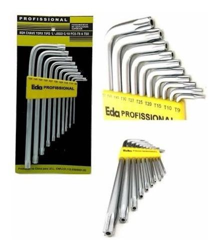 kit jogo chave torx aço tipo l com 10 peças t9 a t50 eda 8qh