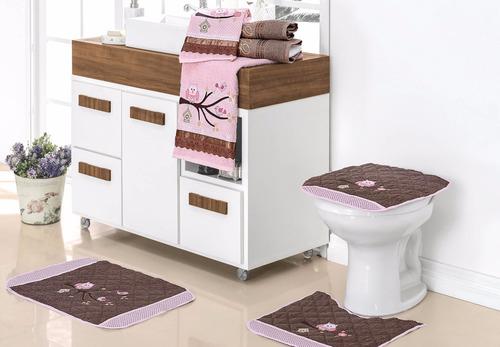 kit jogo de banheiro harmonia 03 pcs + jogo de banho 04 pcs
