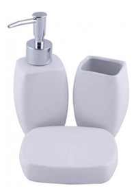 Kit Jogo De Banheiro Porcelana Branca Lisa 3 Peça Casa Banho